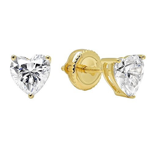 1.70 CT Simulated Diamond Heart Cut Solitaire Stud Earrings Real Solid 14k Yellow Gold Screw Back