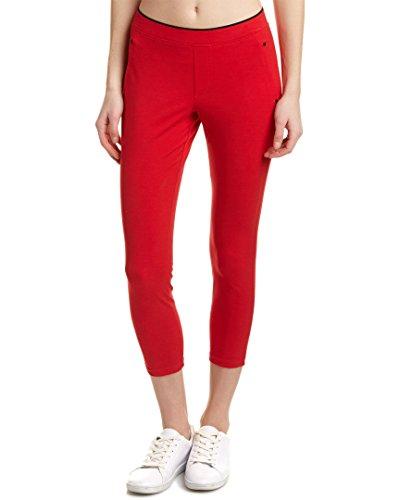 Hue Womens Polished Twill Capri Legging, L, Red (Hue Legging Red)