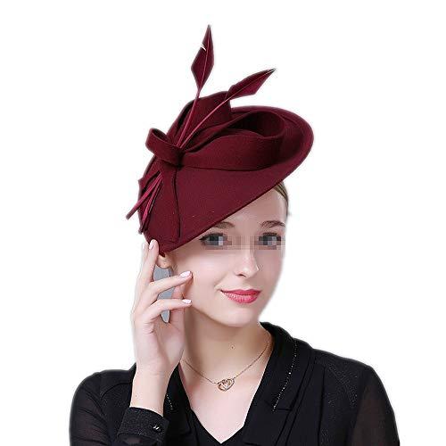 Fascinators Hat for Women Headband Fascinator Wedding Headwear Ladies Race Royal Ascot Pillbox Cocktail Party Derby Hat Derby Wedding Cocktail Flower Mesh Feathers Hair C (Color : Red) ()