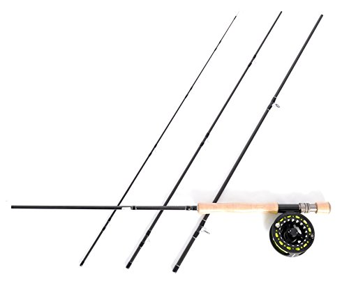 Stradalli Silver Lining 8 Wt, 9' Long, 4 Piece Fast Action Fly Fishing Rod 100% Carbon Fiber Billet Reel Combo