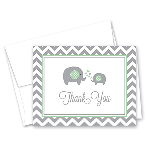 50 Cnt Chevron Mint Elephant Baby Shower Thank