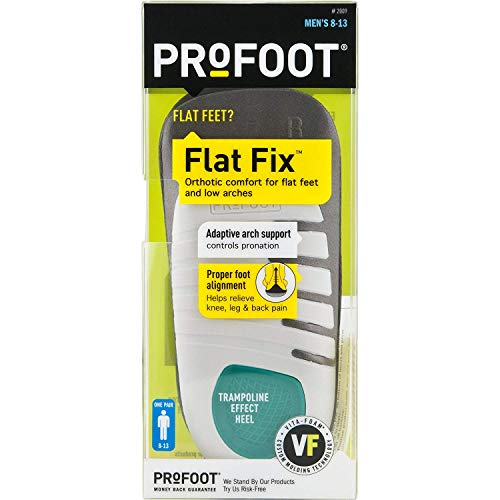 PROFOOT, Flat Fix Orthotic, Men's 8-13, 1 Pair, Orthotic Insoles for Flat Feet and Low Arches, Inserts Help Support Arch and Heel, Lightweight, Absorbs Shock to Help Reduce Foot, Leg, Hip, Back Pain