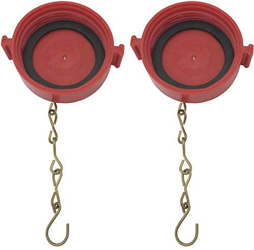 (2 Pack) 2-1/2'' NST/NH Plastic Fire Hose Connection Standpipe Cap Fitting and Chain fire Equipment Red Plastic Anti Theft FDC Cap by Happy Tree