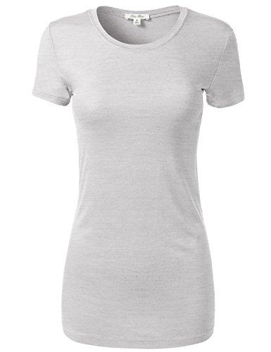 Luna Flower Slim Short Sleeve Deep Round Neck T-Shirt Tops