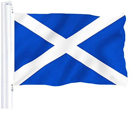 G128 - Scotland (Scottish) Flag | 3x5 feet | Printed 150D - Indoor/Outdoor, Vibrant Colors, Brass Grommets, Quality Polyester, US USA Flag, Much Thicker More Durable Than 100D 75D Polyester