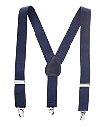 Buyless Fashion Kids And Baby Adjustable Elastic Solid Color 1 inch Suspenders - Navy - Size 26