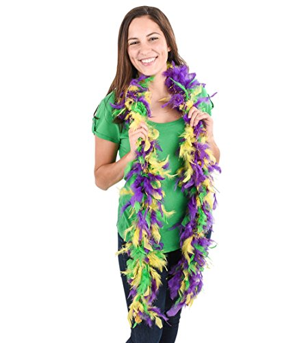 Lumistick Purple Green & Gold Boa with Gold Tinsel (1 (Mardi Gra Themed Dresses)