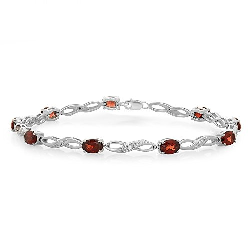 (Dazzlingrock Collection Sterling Silver Real Oval Cut Genuine Garnet & Round White Diamond Ladies Link Bracelet)