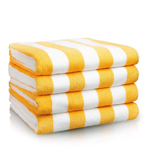Canoo Outdoors Beach Towel - Premium LARGE Beach Towel (30 x 70 Inches) - Cabana Stripe Pool Towels - 100% Cotton Oversized Towel - YELLOW- 4 PACK (Lounge Cabana Beach)