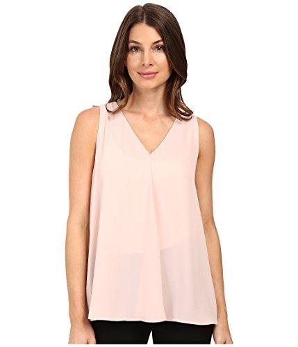 Vince Camuto Women's Sleeveless V-Neck Drape Front Blouse Rosy Flush Blouse ()