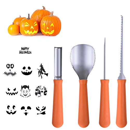 Halloween Pumpkin Carving Tools [Set of 4], LKDEPO Premium Stainless Steel Pumpkin Carving Set [10 Different Pumpkin Carving Pattern Templates] -