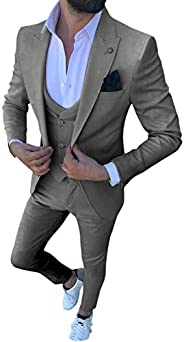 MoranX Casual Men's Suits Slim Fit 3 Pieces Solid Prom Tuxedos Double Breasted Vest Blazer Pants for Weddi