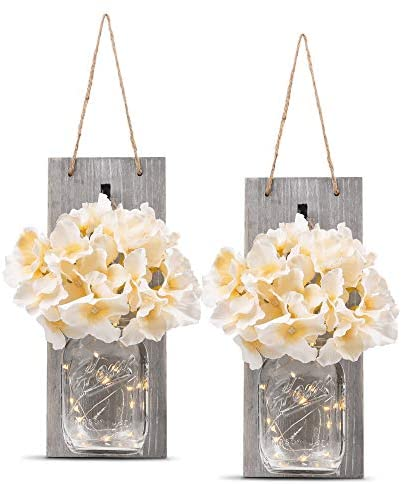 HOMKO Decorative Mason Jar Wall Decor – Rustic Wall Sconces with 6-Hour Timer LED Fairy Lights and Flowers – Farmhouse Home Decor (Set of 2) 41PIv1lJ4BL