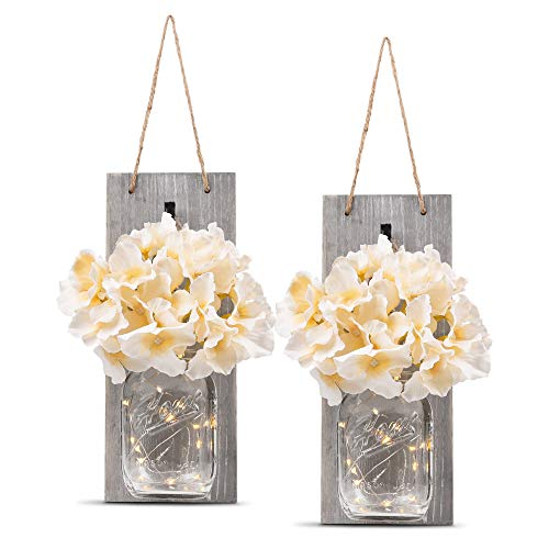 HOMKO Decorative Mason Jar Wall Decor - Rustic Wall Sconces with 6-Hour Timer LED Fairy Lights and Flowers - Farmhouse Home Decor (Set of 2)]()