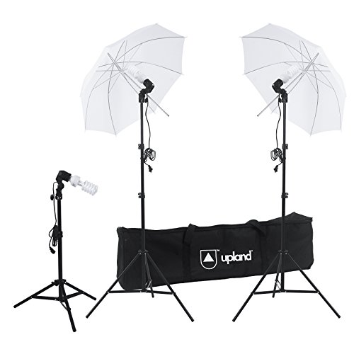 Upland Photography Umbrella Lighting Kit (Set of 3), White Translucent Continuous Bright Umbrella for Photo, Photography and Video (Leg Starter Set)