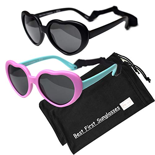 Sweetheart- Best First Sunglasses for Infant, Baby, Toddler! 100% UV Protection. Many Colors and Sizes! (Baby (1-2 Years) 110mm, Pink/Teal and Black 110mm - Polarized with Straps - (2 Pairs))