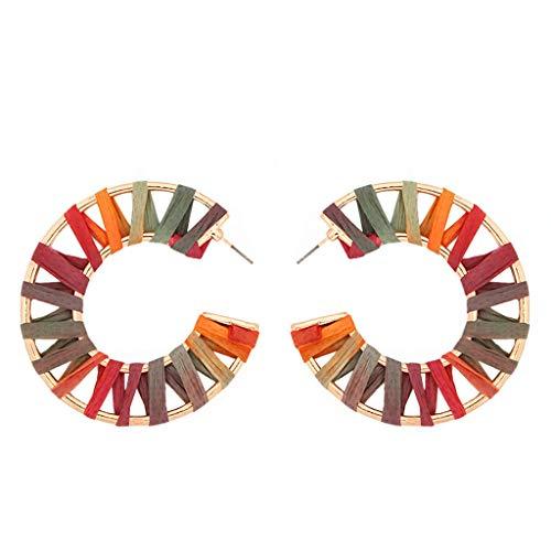 Statement Rattan Raffia Drop Hoop Earrings for Women Geometric Handmade Colorful Rainbow Earring Gift for Mother Sister Summer Wear