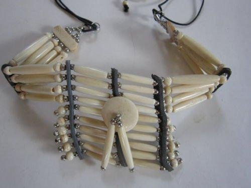 Nickel Antique Beads - Antique White BREASTPLATE Choker Buffalo Bone Geronimo Regalia Pow Wow Indian Necklace