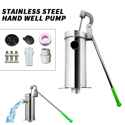 TBvechi Suction Pump Stainless Steel Manual Water Jet Pump Domestic Well Hand Shake Suction Pump Groundwater for Home Garden Yard