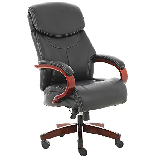 Office Chair 500 LB Heavy Duty,JULYFOX Ergonomic Bonded Faux Leather Executive Chair Lumbar Support Thick Padded Seat Head Pillow Extra Wide Tilt Control Wood Arm High Back Boss Chair Black
