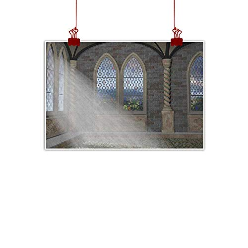 Wall Painting Prints Fantasy,Crepuscular Rays Streaming Through Stained Glass Window Ancient Palace Castle, Grey Cream White 36