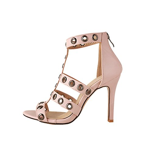 zipper alti sandali i signore sexy i sandali tacchi sandali rosa 33 super zqExx0Z4w