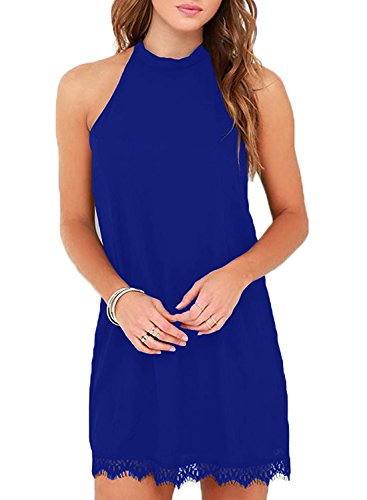 Fantaist Women's Summer Backless Halter Neck Lace Mini Short Casual Shift Dress (XS, FT610-Blue) (Halter Dress Sleeveless Shift)