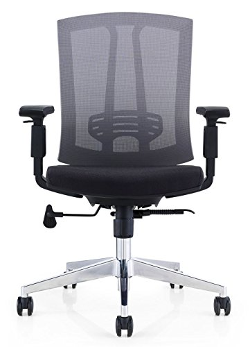 GM Seating Hampton Mid-Back Work Chair with Mesh Back & Polished Aluminum Base for Office or Computer Desk, Black Review