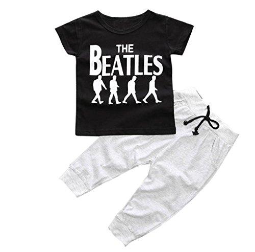 1Set Kids Baby Boy T-shirt Long Pants (9M, Black)