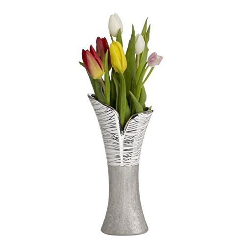 Ethel's Gift Collection Stunningly Attractive Design Porcelain Vase - Stunning as a Standalone Decorative Vase or With Floral Arrangement - A Much Appreciated Gift - White/Silver - Porcelain Vase Collection