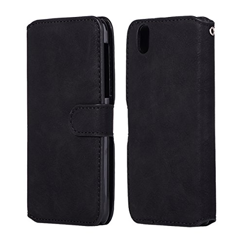Scheam Sharp Aquos S3 Wallet Case, Stylish Slim PU Leather Bumper Stand and Card Holders Wallet Phone Cover Appears Protective Case Compatible with Sharp Aquos S3 -Black