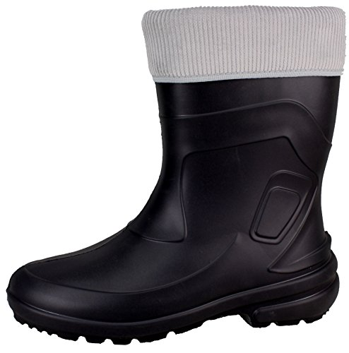 BOCKSTIEGEL® LINDA Mujer - Botas de goma con estilo (Tallas: 36-42), Color:Black / grey;Tamaño:36 Black / grey