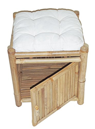 Bamboo Square Storage Ottoman w Cushion in Natural ()
