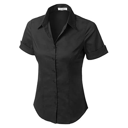 967ecf17956e LE3NO Womens Tailored Short Sleeve Button Down Shirt with Stretch chic
