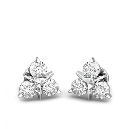 925 Sterling Silver 0.06 ctw Round Diamonds Miracle Plate Earrings for Her (IGI, I-J, SI1-SI2) by Candere