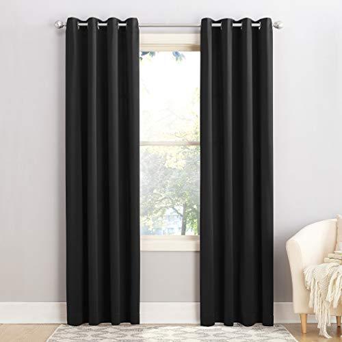 Sun Zero Barrow Energy Efficient Grommet Curtain Panel, 54' x 95', Black