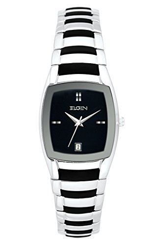 Elgin Bezel Watch (Elgin Ladies Watch #EG453 In Silver Bezel Black Dial 24MM SIlver Metal And Black Rubber Mix Band)