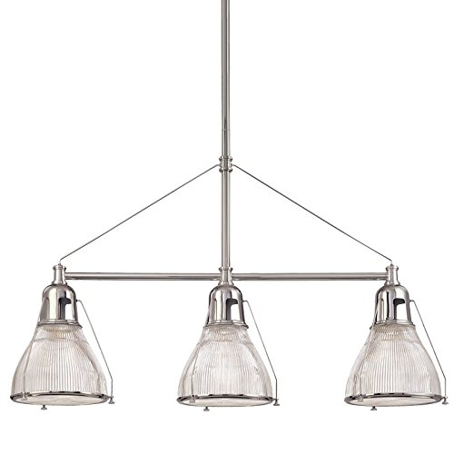 Haverhill 3-Light Island Pendant - Polished Nickel Finish with Clear Prismatic Glass (Haverhill Pendant Lighting)