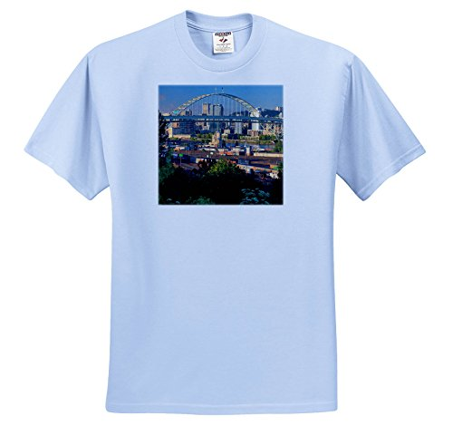 Danita Delimont - Oregon - Oregon, Portland. Fremont Bridge Over Willamette River. - T-Shirts - Adult Light-Blue-T-Shirt XL (ts_279295_53)