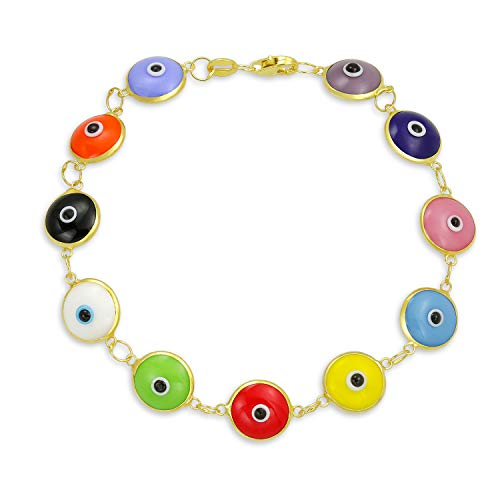 Turkish Colorful Multicolor Evil Eye Glass Bracelet For Women For Protection 14K Gold Plated 925 Sterling Silver ()
