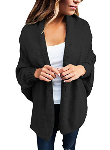Astylish Women's Casual Long Dolman Sleeve Draped Open Front Cozy Loose Knit Cardigan Sweaters Oversized Outwear Coat Black Small 4 6