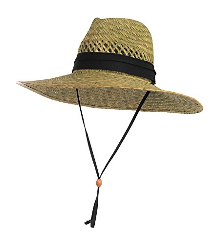 [Vented Straw Lifeguard Sun Hat w/ 4.5-inch-Wide Brim & Chin Strap – One Size] (Straw Safari Hat)