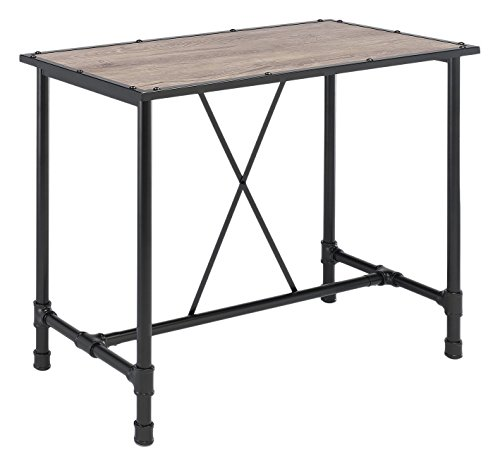 Major-Q Industrial Style Bar Table for Dining / Kitchen / Living Room, Rectangular, Wood Rustic and Oak Finish, 48 x 24 x (Wood And Metal Bar Table)