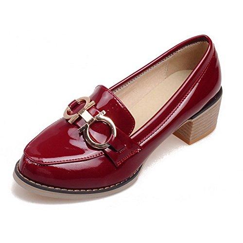 Amoonyfashion Kvinners Trekke På Patent Lær Pekte Lukket Tå Kattunge Hæler  Solide Pumper-sko Røde