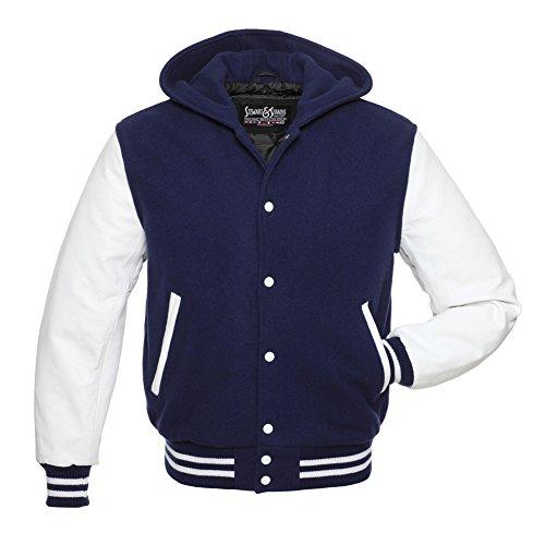 Stewart & Strauss Navy Blue Wool White Leather Varsity Jacket Letterman Jacket