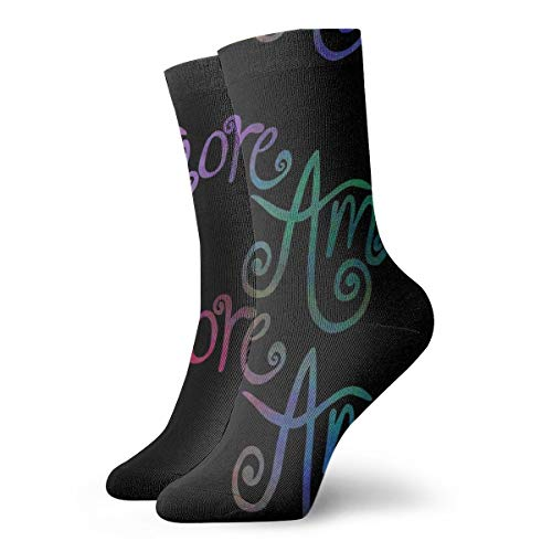 Fun Socks -Amore - Rainbow On Black_8768 Painting Art Printed Funny Novelty Animal Casual Cotton Crew Socks 11.8inch - Candy Amore