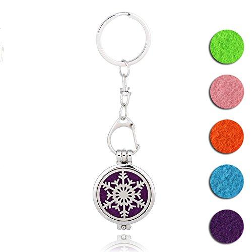 Aromatherapy Scent Jewelry Essential Oil Keychain Diffuser Charm Santa Snowflakes Locket Yoga Healing Dangle (Santa Dangle)