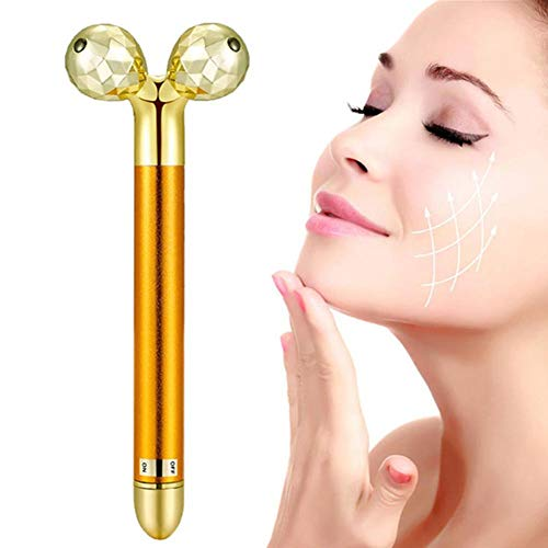dedeka 2 en 1 Barra de Belleza 24 K Dorado Pulse Facial Masajeador Facial, 3D Masajeador Facial Rodillos Facial Lifting Massager,Aleación de Zinc para Pieles Sensibles Tirón Reafirmante por dedeka