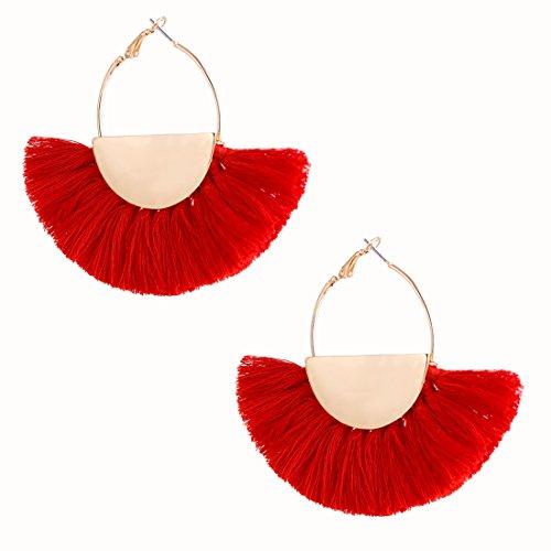 VK Accessories Semicircle Fan Shape Tassel Earrings Hoop Dangle Ear Drop Soriee Red Red Tassel Fringe