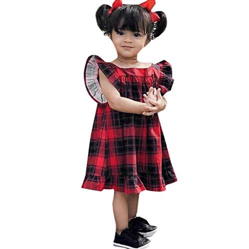 Niña Recién Princesa Volantes Bautizo Vestido Fiesta Años Nacidos Cuadros 6 Corta Verano 2019 Rojo Manga Paolian Bebé vestido 4 Para Bowknot Meses 0Pq6xE